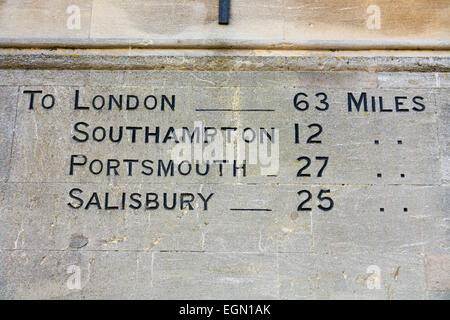 Distances from Winchester to London, Southampton, Portsmouth & Salisbury, inscribed on the wall of the Guildhall, - Stock Photo