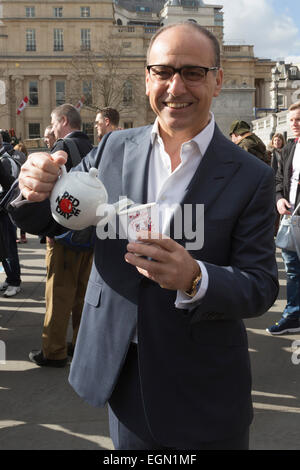 London, UK. 27 February 2015. Pictured: Theo Paphitis. Theo Paphitis and his celebrity friends Paul Bradley, Matt - Stock Photo