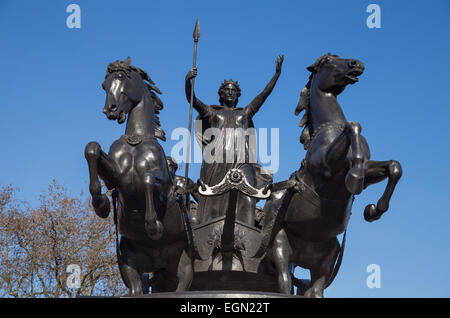 statue of Iceni queen Boudicca or Boadicea on Westminster Bridge opposite the Houses of Parliament, Westminster, - Stock Photo