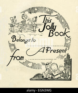 A blank bookplate page from Tiny Tots children's annual of 1946 - Stock Photo
