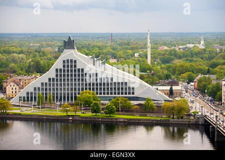 Riga, Latvia. The Latvian National Library seen after completion in summer 2014. SW across the Daugava River - Stock Photo