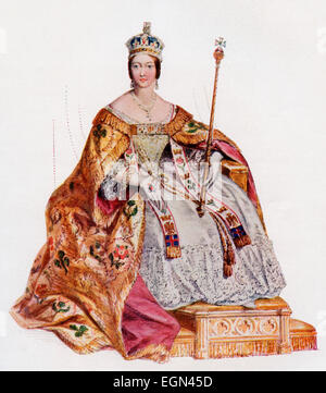 Victoria, 1819 – 1901, in her coronation robes at Westminster Abbey, 28 June, 1838.   Queen of the United Kingdom - Stock Photo
