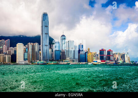 Hong Kong China city skyline. - Stock Photo