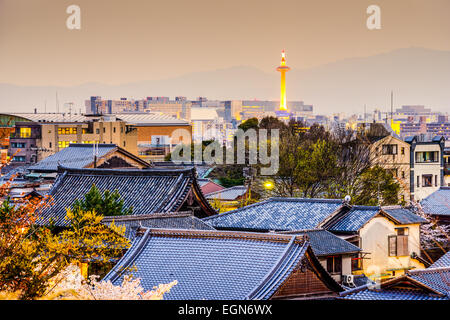 Kyoto, Japan city skyline. - Stock Photo