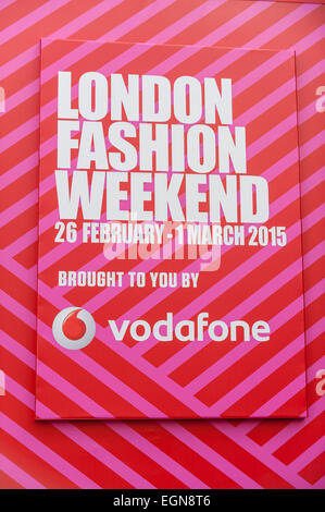 London, UK. 27th February, 2015.  Members of the public enjoy visiting the London Fashion Weekend, sponsored by - Stock Photo