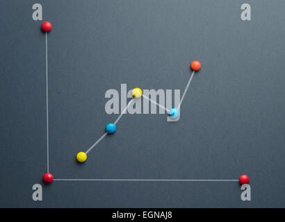Growth graph concept made of colorful button shaped candies over dark blue background. This image is a photograph - Stock Photo