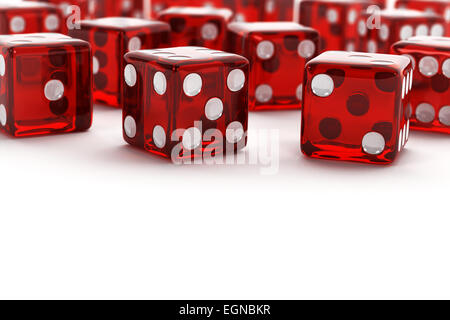 Many red semi transparent dice - Stock Photo