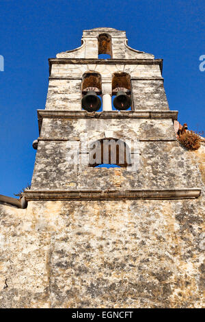 A very old church tower in the old town of Corfu, Greece - Stock Photo