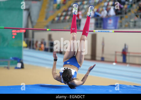 ISTANBUL, TURKEY - FEBRUARY 21, 2015: Greek athlete Ekaterini Kyriakopoulou high jump during Balkan Athletics Indoor - Stock Photo