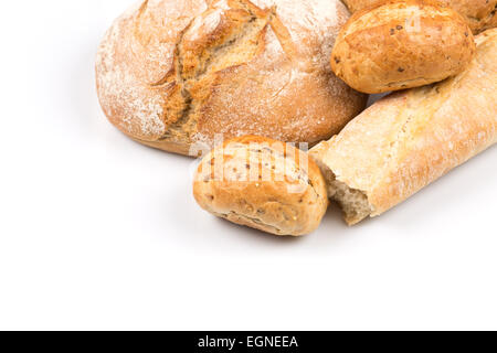 Composition with bread, buns and rolls isolated on white background - Stock Photo