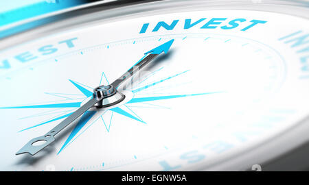 Conceptual Compass with needle pointing to the word invest. Business background image. Financial concept. - Stock Photo