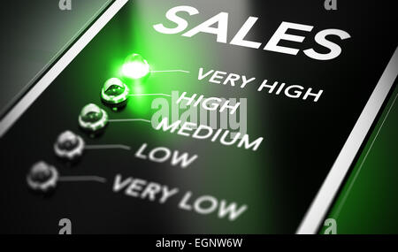 Sales management concept. Salesforce monitoring system with green light in front of very high. - Stock Photo
