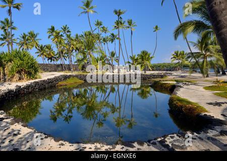 Heleipalala (fish pond) - Pu'uhonua O Honaunau National Historical Park, Big Island, Hawaii, USA - Stock Photo