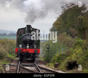 The steam locomotive 1450 approaching Ropley Station on the Mid Hants Railway (Watercress Line)  Hampshire, England, - Stock Photo