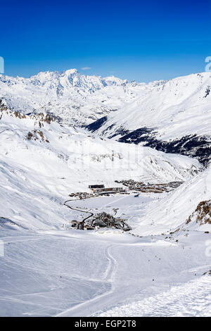 Llandscape and ski resort in French Alps,Tignes, Le Clavet, Tarentaise, France - Stock Photo