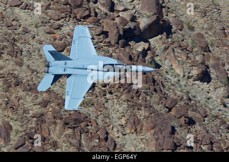 Close Up Topside View Of A US Navy F/A-18F Super Hornet Jet Fighter, VX-9 Squadron, China Lake, Flying At Low Level. - Stock Photo