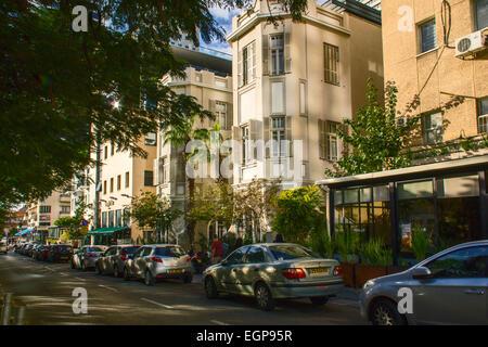 Tel Aviv, Israel- December 20, 2014: Old Renovated Buildings in Rothschild Boulevard Of Tel Aviv. Israel - Stock Photo