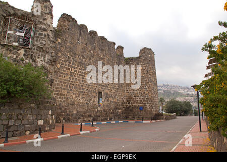 View to Tiberius Fort Ruins,Israel - Stock Photo