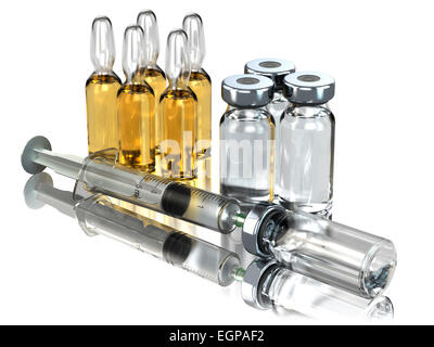 Medicine concept. Syringe and ampoules or vials isolated on white. 3d - Stock Photo