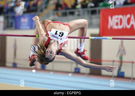 ISTANBUL, TURKEY - FEBRUARY 21, 2015: Montenegrin athlete Marija Vukovic high jump during Balkan Athletics Indoor - Stock Photo