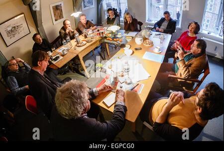 Luebeck, Germany. 27th Feb, 2015. Authors (l-r) Klaus-Juergen Scherer, Ferudan Zeimogl, Sherko Fatah, Norbert Niemann, - Stock Photo