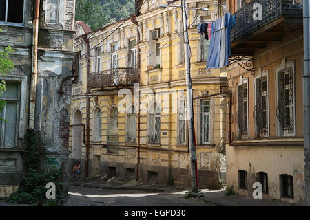 old and crumbling buildings in the old town of Tbilisi,Georgia,Europe - Stock Photo