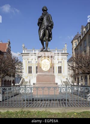 Goethe statue by the Old Stock Exchange, Leipzig, Saxony, Germany - Stock Photo