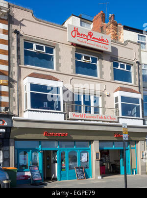 A franchise of 'Harry Ramsdens' famous fish and chip shop Scarborough, UK - Stock Photo