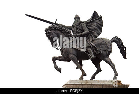 El Cid  Rodrigo Díaz de Vivar Bronze Equestrian Statue Horse  cut-out in the city of Burgos Northern Spain - Stock Photo