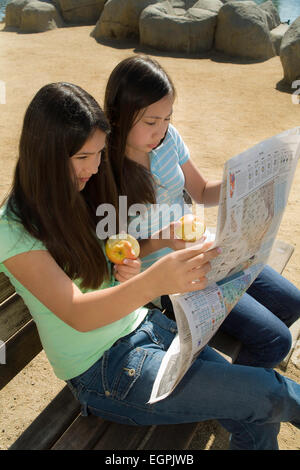 11 12 year old hanging out Mixed Vietnamese/Caucasian friendship Hispanic/Caucasian read together young person people - Stock Photo