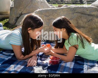 California Teens hanging out tweens Tween girls talking. Vietnamese/Caucasian and Hispanic/Caucasian girls share - Stock Photo