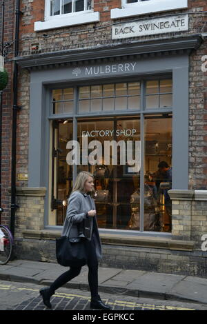 York, UK. Saturday 28th February 2015. Mulberry Factory Shop, Back Swinegate, York, UK. Picture: Scott Bairstow/Alamy - Stock Photo
