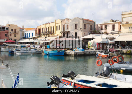 RETHIMNO, GREECE - OCTOBER 3, 2014: View on the old Venetian port and city of Rethymno on the island of Crete, Greece. - Stock Photo