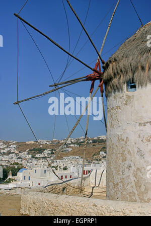 Chora, Mykonos, Greece. 3rd Oct, 2004. One of the famous iconic windmills (Kato Mili) in Chora, Mykonos, that stand - Stock Photo