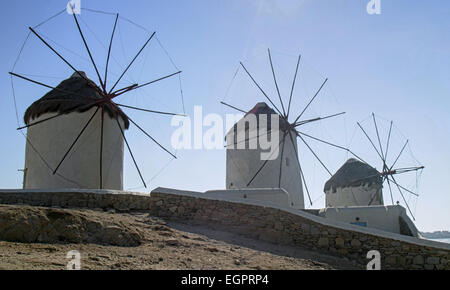 Chora, Mykonos, Greece. 3rd Oct, 2004. Three of the famous iconic windmills (Kato Mili) in Chora, Mykonos, that - Stock Photo