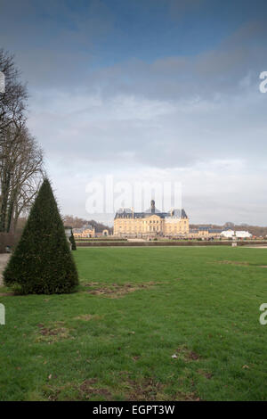 Chateau de Vaux-le-Vicomte in winter, from the gardens at the rear of the chateau, Maincy, France - Stock Photo