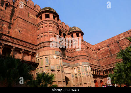 Agra Fort India Interior Colorful Architectural Building view - Stock Photo