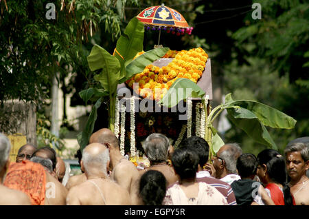 Hindu devotees take procession of lord Subramanya swamy in the streets with murugan kavadi in Hyderabad,India on - Stock Photo