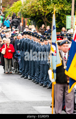 England, Ramsgate. Remembrance Sunday. View along parade, RAF personal standing to attention, different groups front - Stock Photo