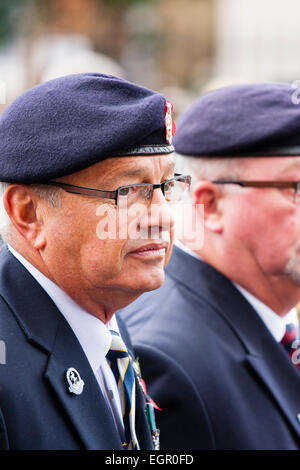 England, Ramsgate. Remembrance Sunday. Facial protrait, old soldier from side, reflecting and sad expression, during - Stock Photo