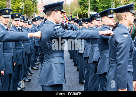 England, Ramsgate. Remembrance Sunday. Three ranks of RAF men lining up, side view of formation - Stock Photo