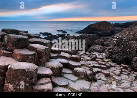 Giants Causeway unique basalt rock formation in Northern Ireland - Stock Photo