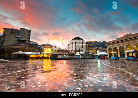Monastiraki square with mosque and Acropolis early in the morning, Athens, Greece. - Stock Photo
