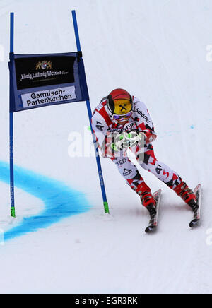 Garmisch-Partenkirchen, Germany. 01st Mar, 2015. Marcel Hirscher of Austria in action the first run at the Men's - Stock Photo
