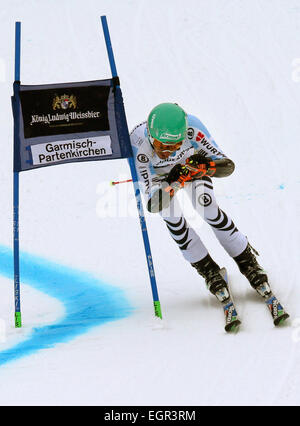 Garmisch-Partenkirchen, Germany. 01st Mar, 2015. Felix Neureuther of Germany reacts on the first run at the Men's - Stock Photo