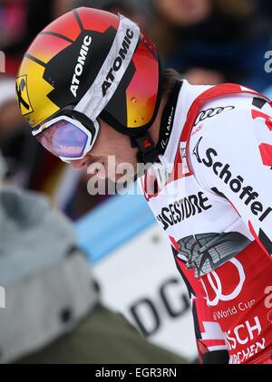 Garmisch-Partenkirchen, Germany. 01st Mar, 2015. Marcel Hirscher of Austria reacts after the first run at the Men's - Stock Photo