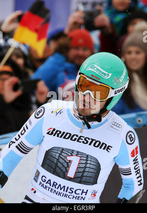 Garmisch-Partenkirchen, Germany. 01st Mar, 2015. Felix Neureuther of Germany reacts after the first run at the Men's - Stock Photo