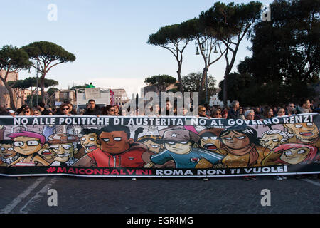 Demonstrators hold up a banner reading in Italian 'No to austerity policies. The Italian Lega Nord (Northern League) - Stock Photo