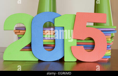Colorful numbers of 2015 with flat foam number toys - Stock Photo