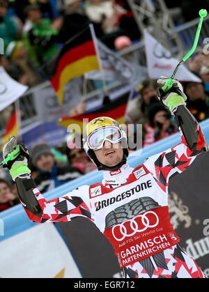 Garmisch-Partenkirchen, Germany. 01st Mar, 2015. Marcel Hirscher of Austria reacts after the second run at the Men's - Stock Photo